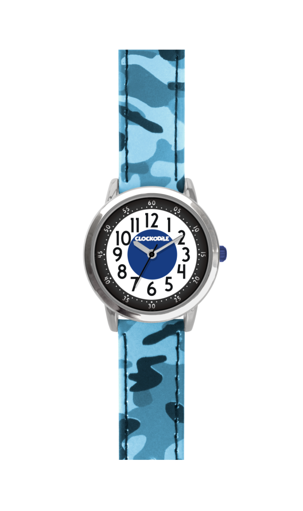 Svítící modré chlapecké hodinky CLOCKODILE ARMY s maskáčovým vzorem
