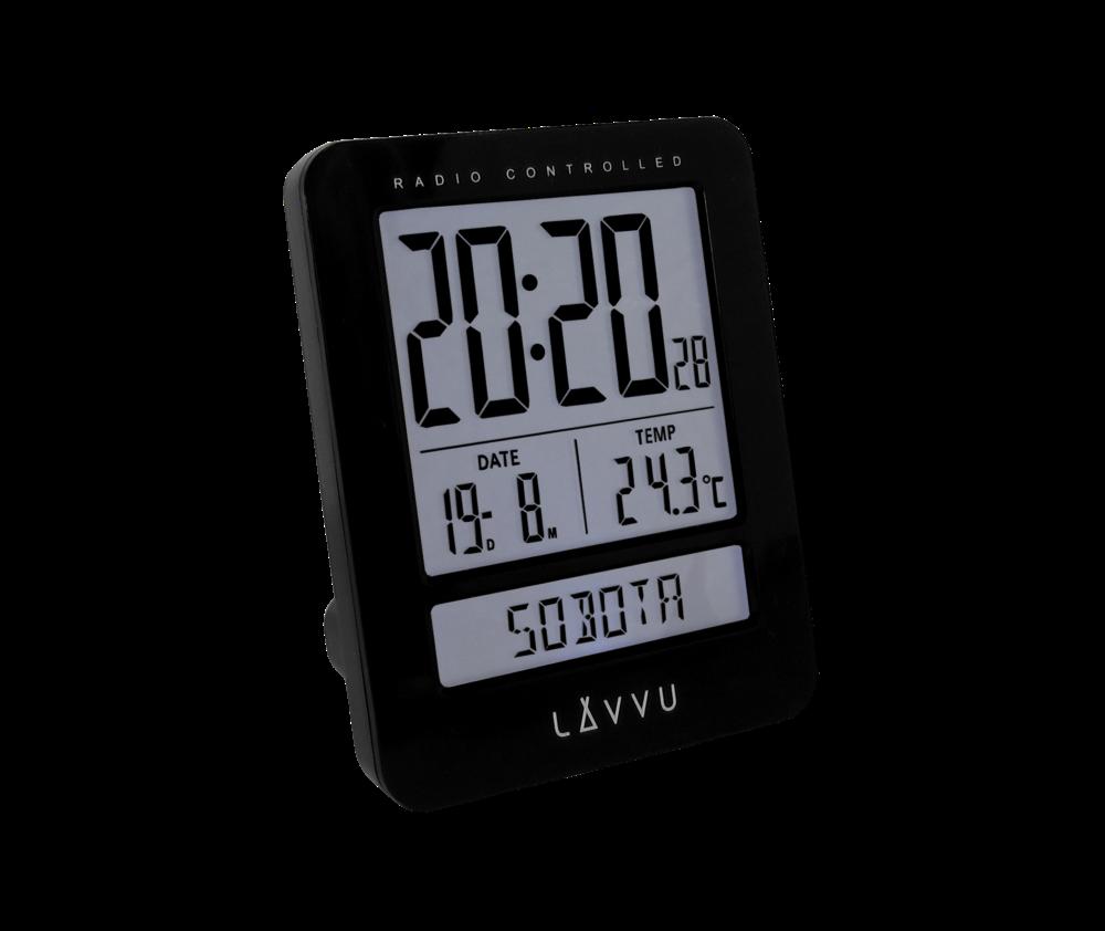 Digitální budík řízený rádiovým signálem LAVVU Duo Black s češtinou