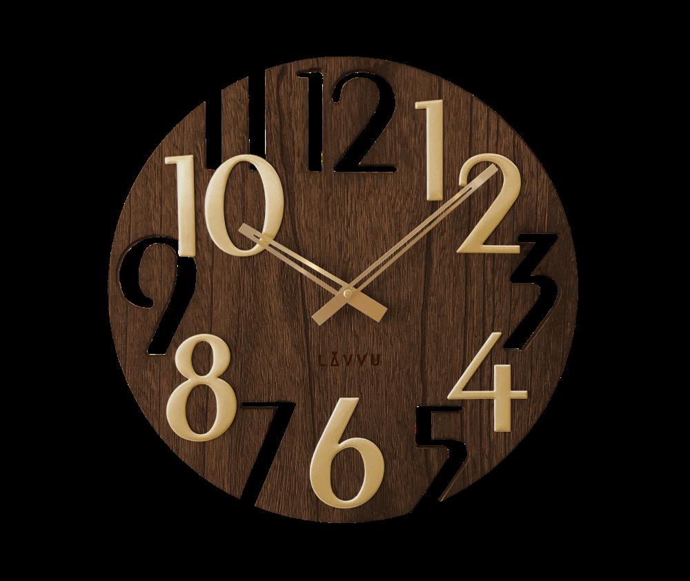 Hnědé dřevěné hodiny LAVVU STYLE Brown Wood