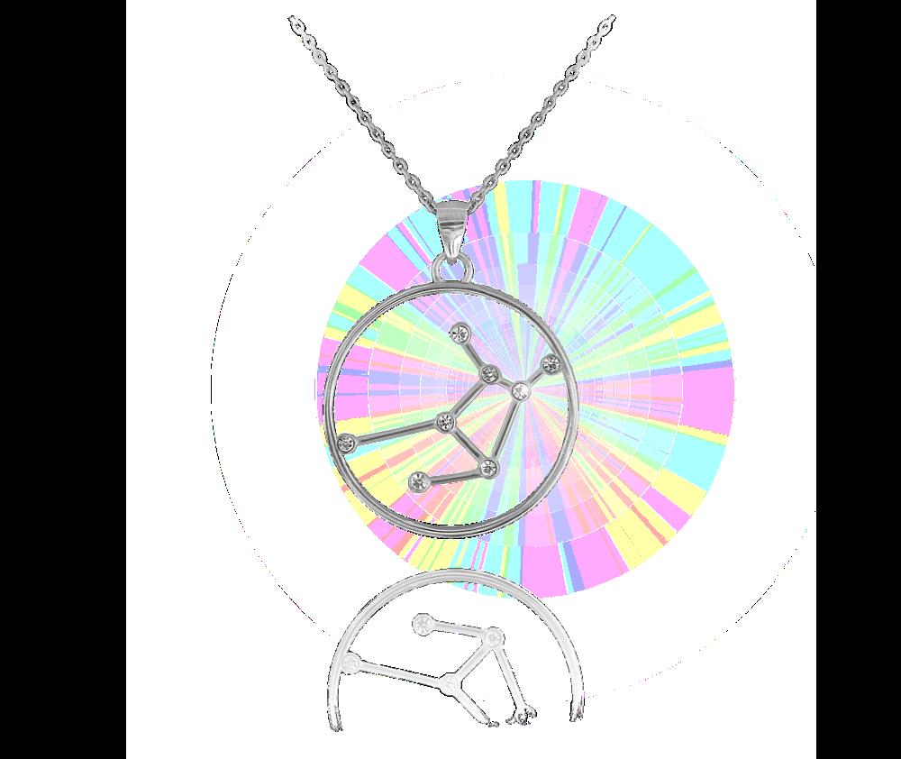Stříbrný náhrdelník MINET Stars znamení PANNA Czech Crystal