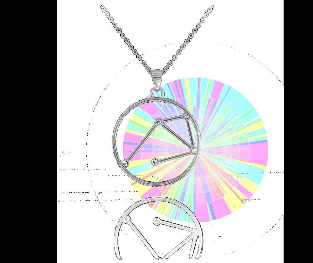 Stříbrný náhrdelník MINET Stars znamení VÁHY Czech Crystal
