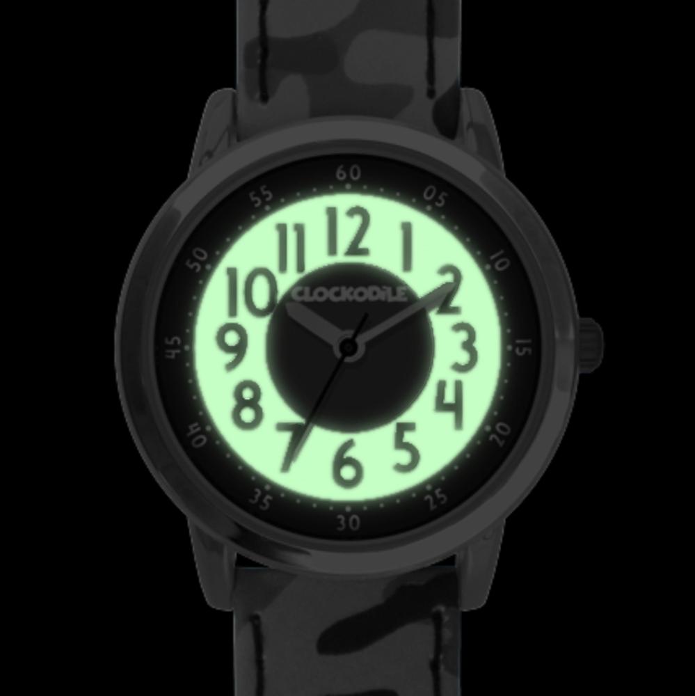 Svítící zelené chlapecké dětské hodinky CLOCKODILE ARMY s maskáčovým vzorem