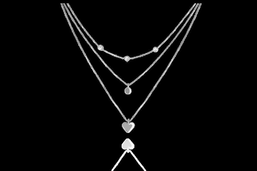 MINET Trojitý stříbrný náhrdelník MINET s bílými zirkony JMAN0021SN45