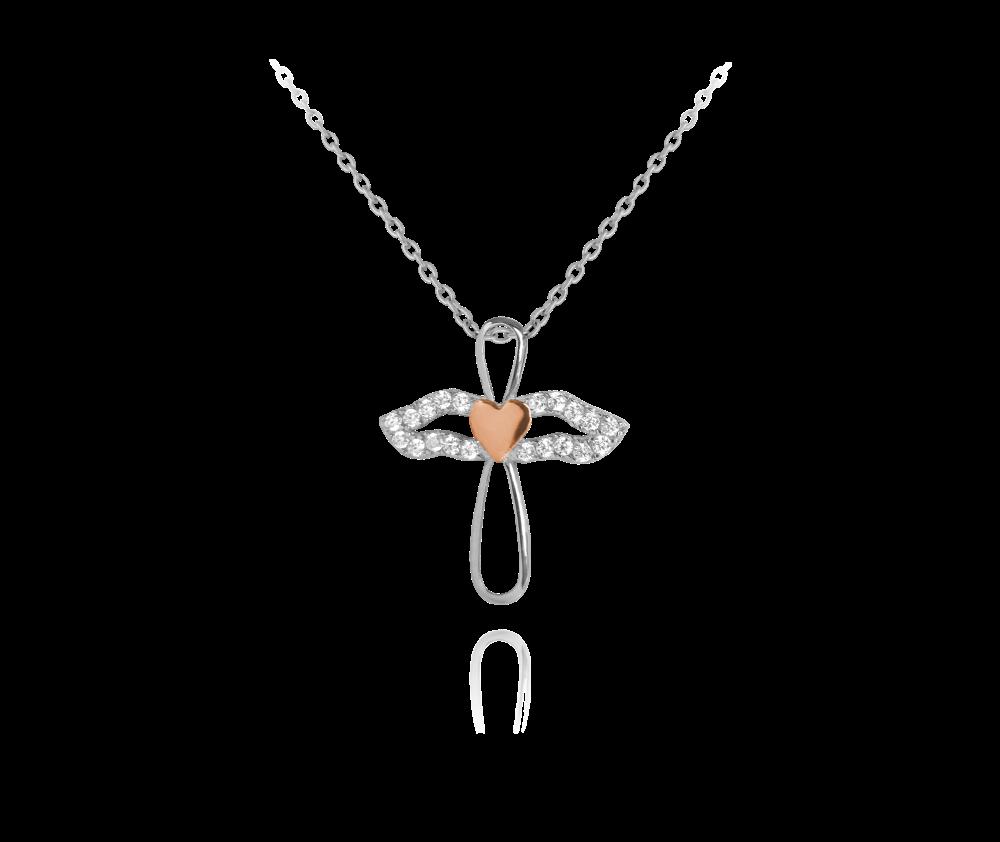 Třpytivý stříbrný náhrdelník MINET ANDĚL s růžovým srdíčkem