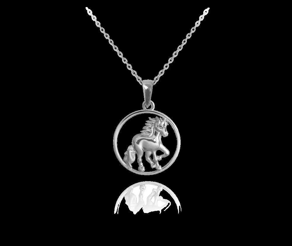 Stříbrný náhrdelník MINET KONÍK v kroužku