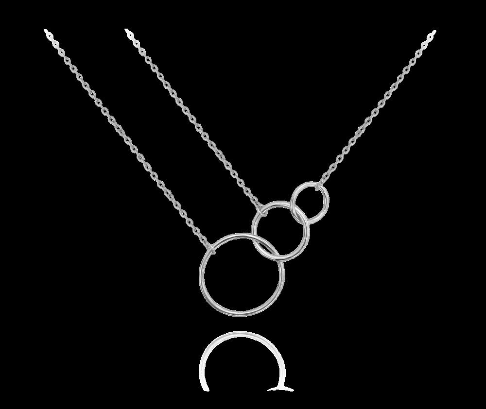 MINET Asymetrický stříbrný náhrdelník MINET KROUŽKY JMAS0007SN45