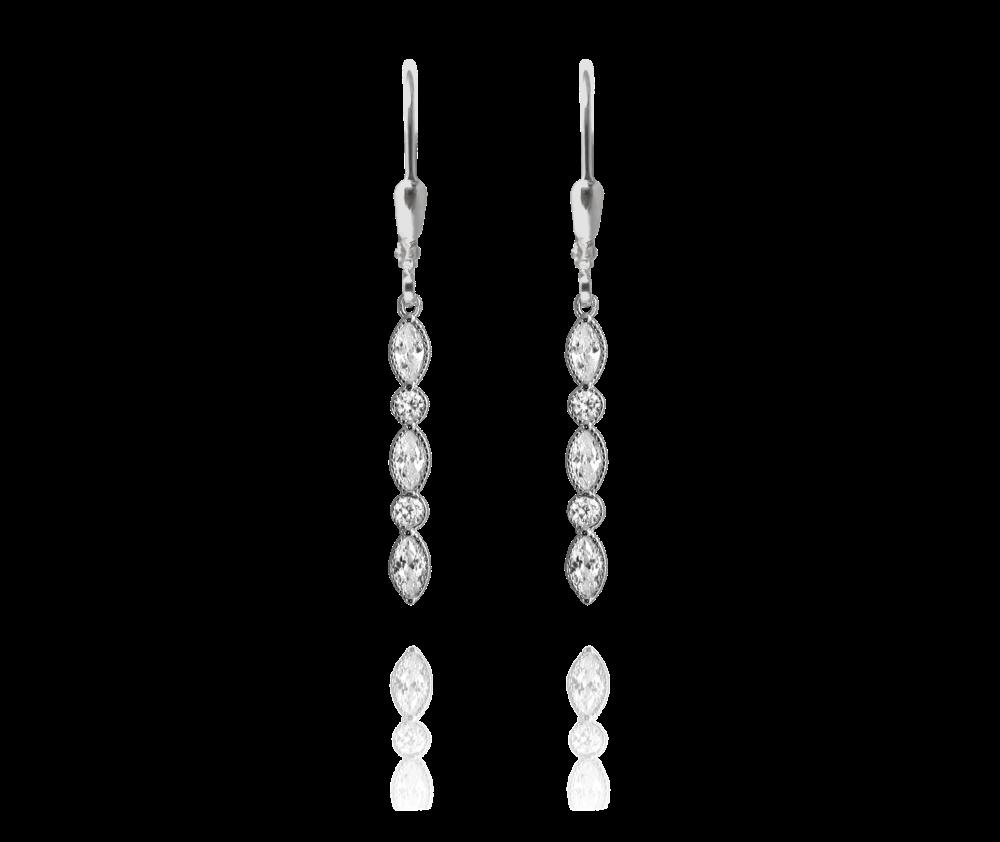 MINET Romantické stříbrné náušnice MINET s bílými zirkony JMAS0008SE00