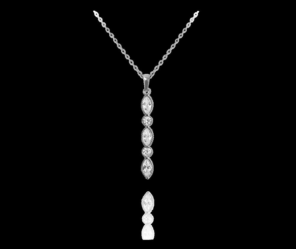 MINET Romantický stříbrný náhrdelník MINET s bílými zirkony JMAS0008SN45
