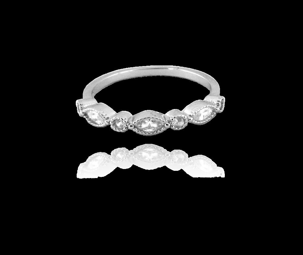 MINET Romantický stříbrný prsten MINET s bílými zirkony vel. 58 JMAS0008SR58