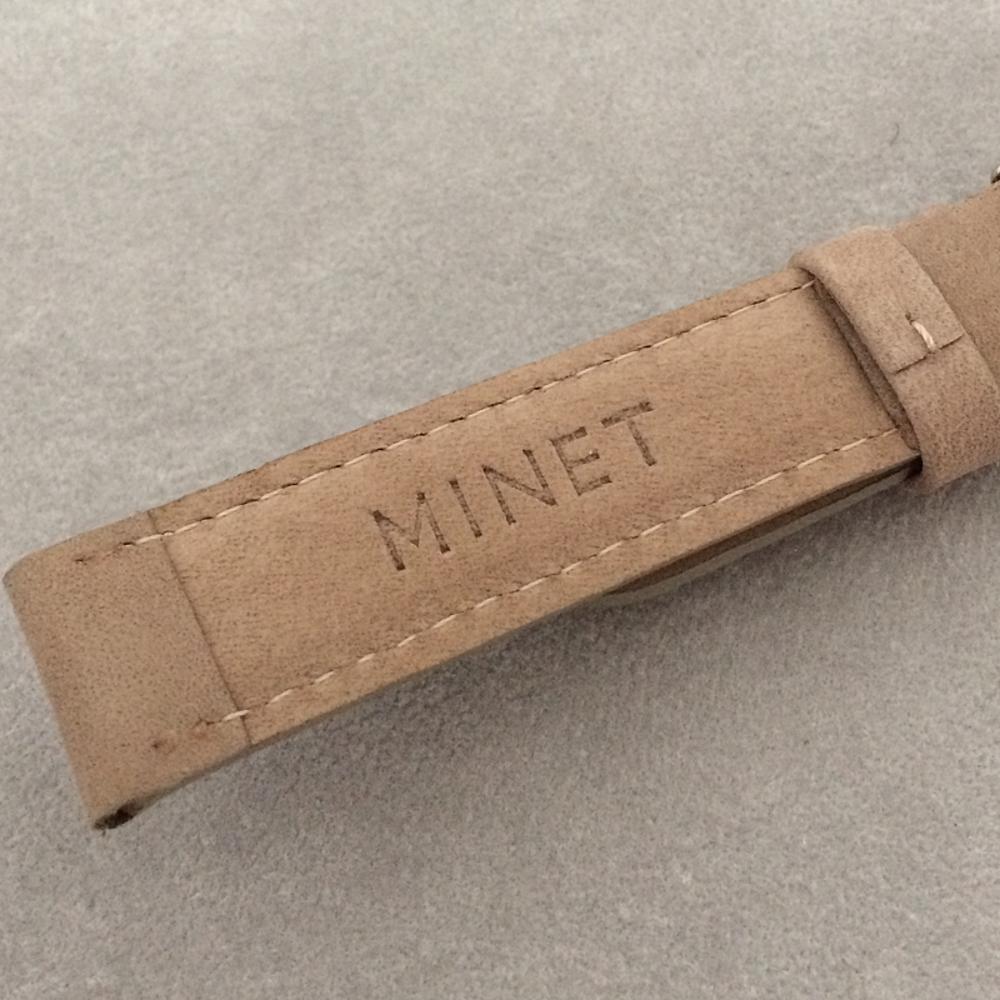 Světle hnědý prošitý kožený řemínek MINET z jemného nubuku - 18