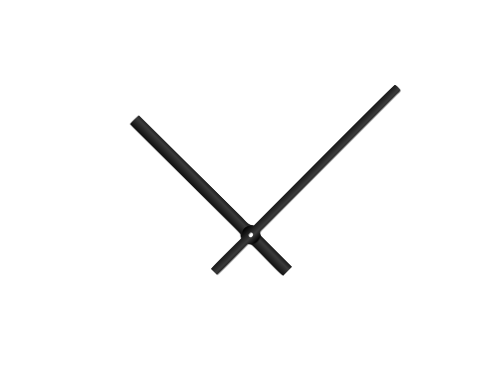 Černé rovné hliníkové ručičky na hodiny 145 mm | 113 mm