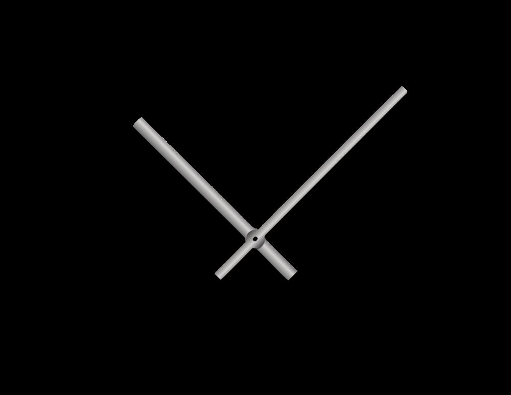 Stříbrné rovné hliníkové ručičky na hodiny 145 mm | 113 mm