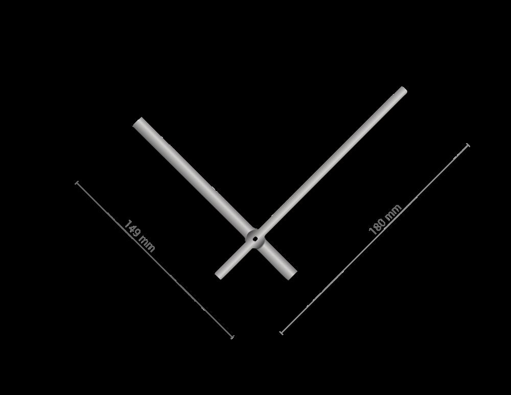 Stříbrné rovné hliníkové ručičky na hodiny 145 mm   113 mm