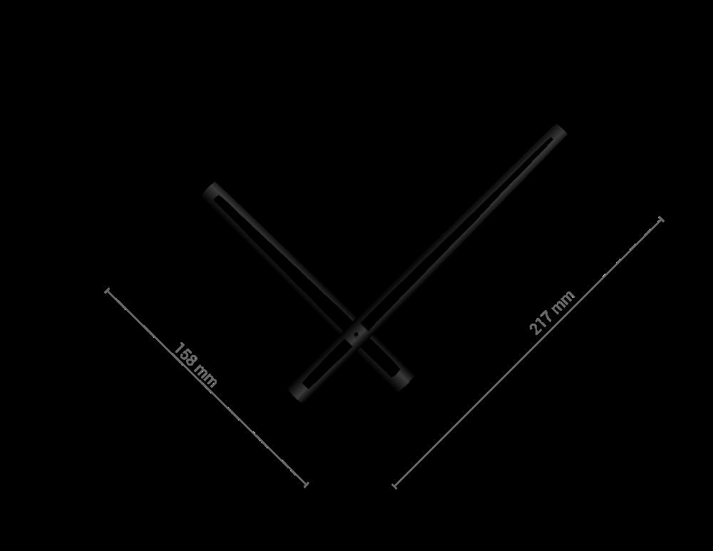 Černé vyseknuté hliníkové ručičky na hodiny 168 mm   118 mm
