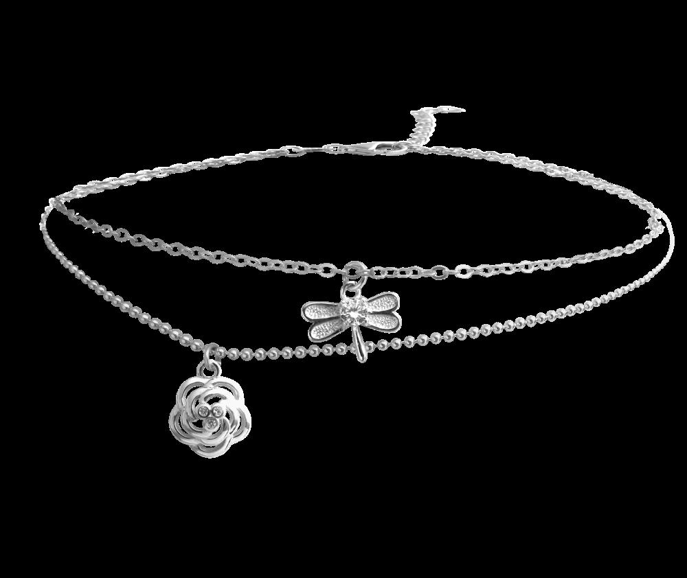 MINET Letní stříbrný řetízek na kotník MINET RŮŽIČKA s vážkou JMAS5006SB25