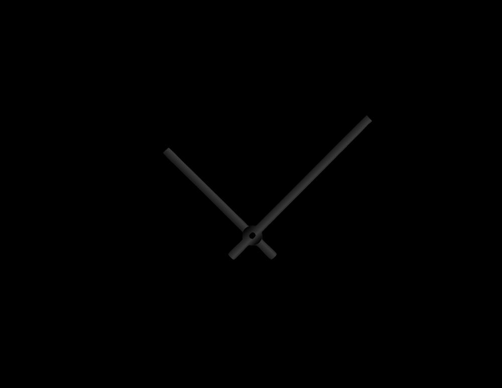 Černé rovné hliníkové ručičky na hodiny 90 mm | 65 mm