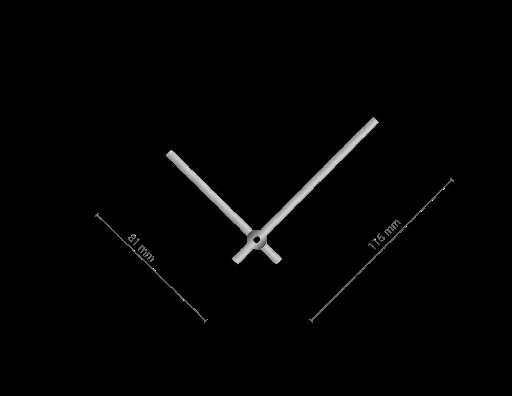 Stříbrné rovné hliníkové ručičky na hodiny 90 mm   65 mm