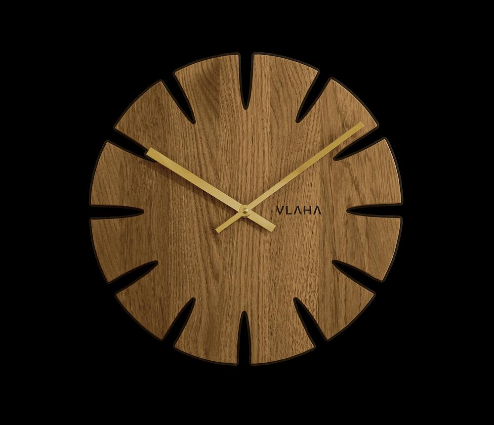 VLAHA Dubové hodiny VLAHA vyrobené v Čechách se zlatými ručkami VCT1013
