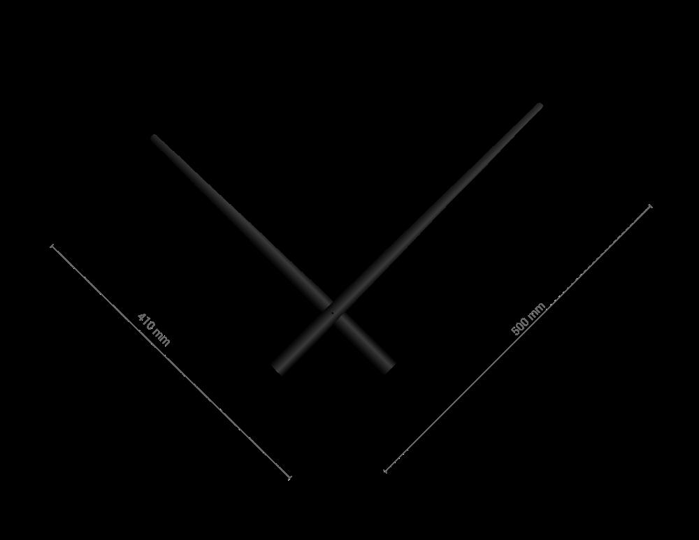 Velké černé hliníkové ručičky na hodiny 340 mm | 400 mm