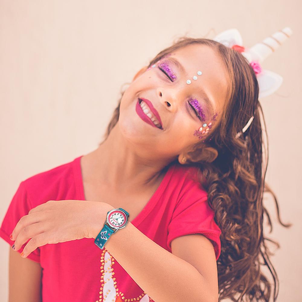 Motýlí bílé dívčí dětské hodinky CLOCKODILE BUTTERFLIES se třpytkami