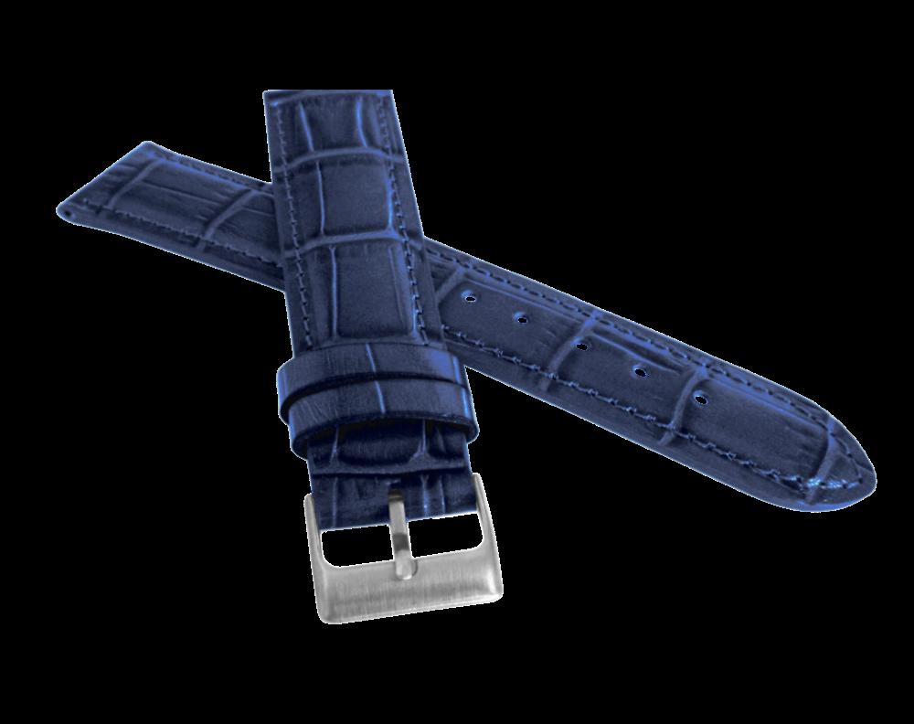 Modrý prošitý řemínek LAVVU CROCO z luxusní kuže Top Grain - 22