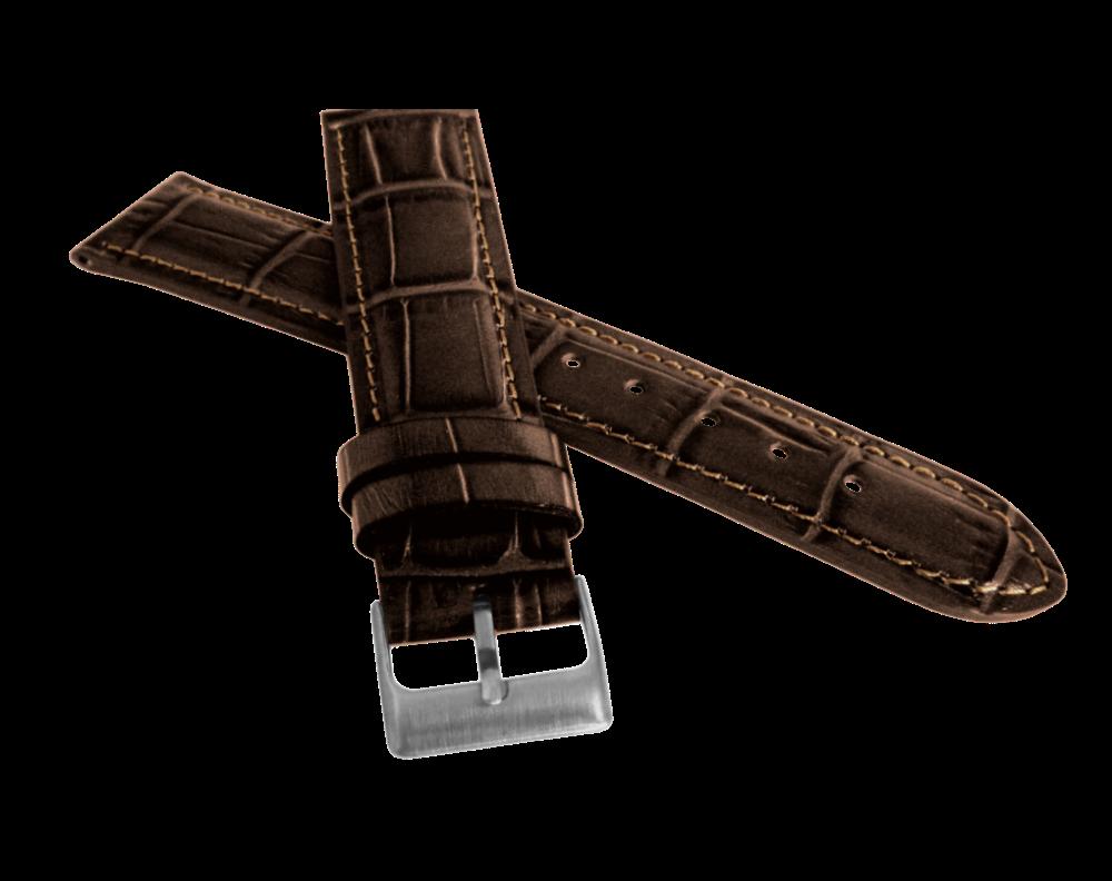 Tmavě hnědý prošitý řemínek LAVVU CROCO z luxusní kuže Top Grain - 22