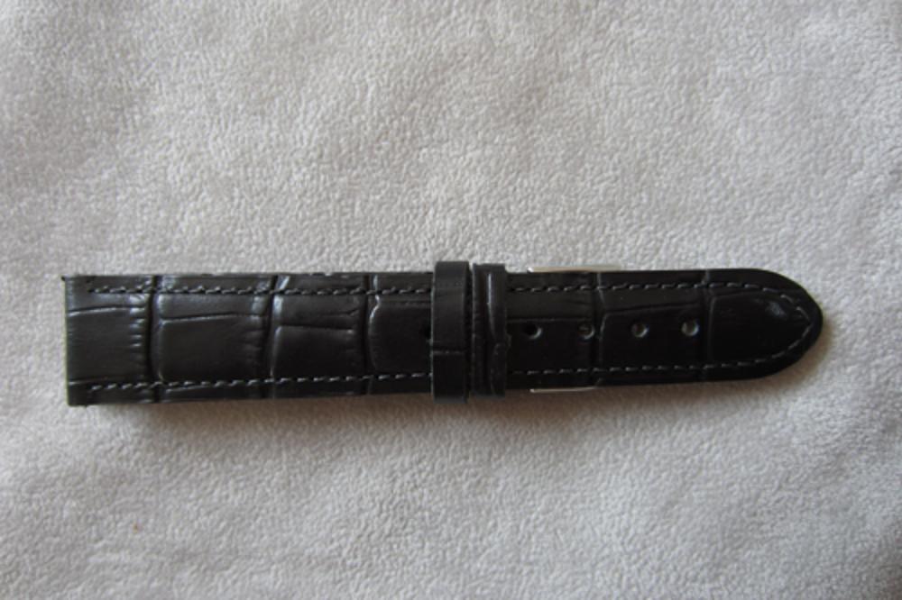 Černý prošitý řemínek LAVVU CROCO z luxusní kuže Top Grain - 22