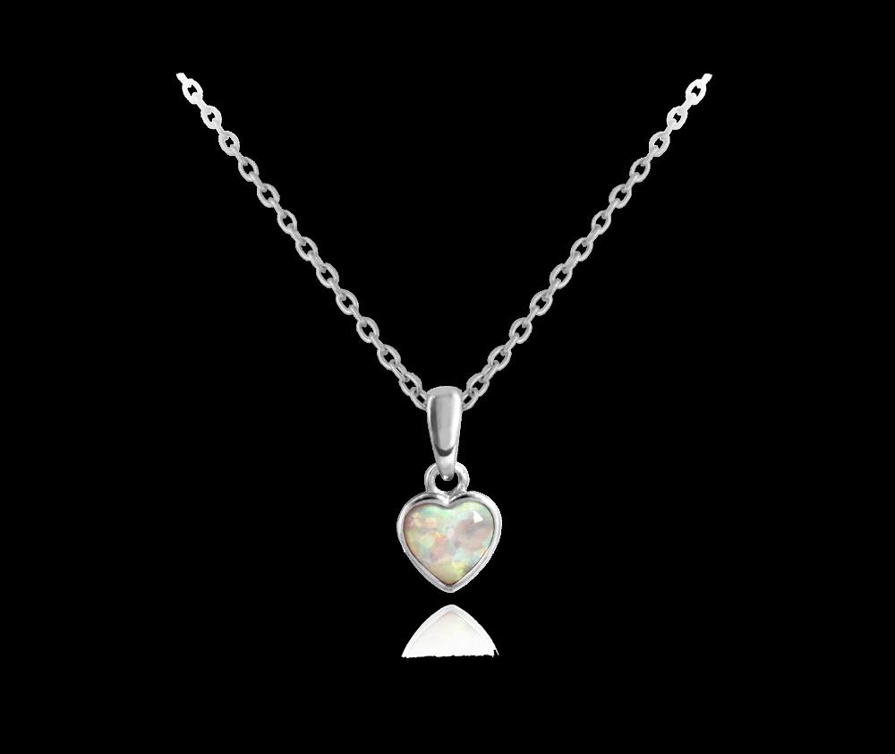 MINET Stříbrný náhrdelník MINET SRDÍČKO s bílým opálkem JMAN0054SN45