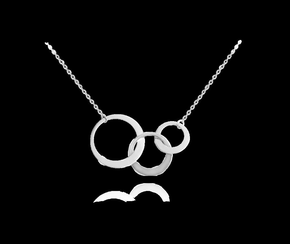 Asymetrický stříbrný náhrdelník MINET - 3 KROUŽKY