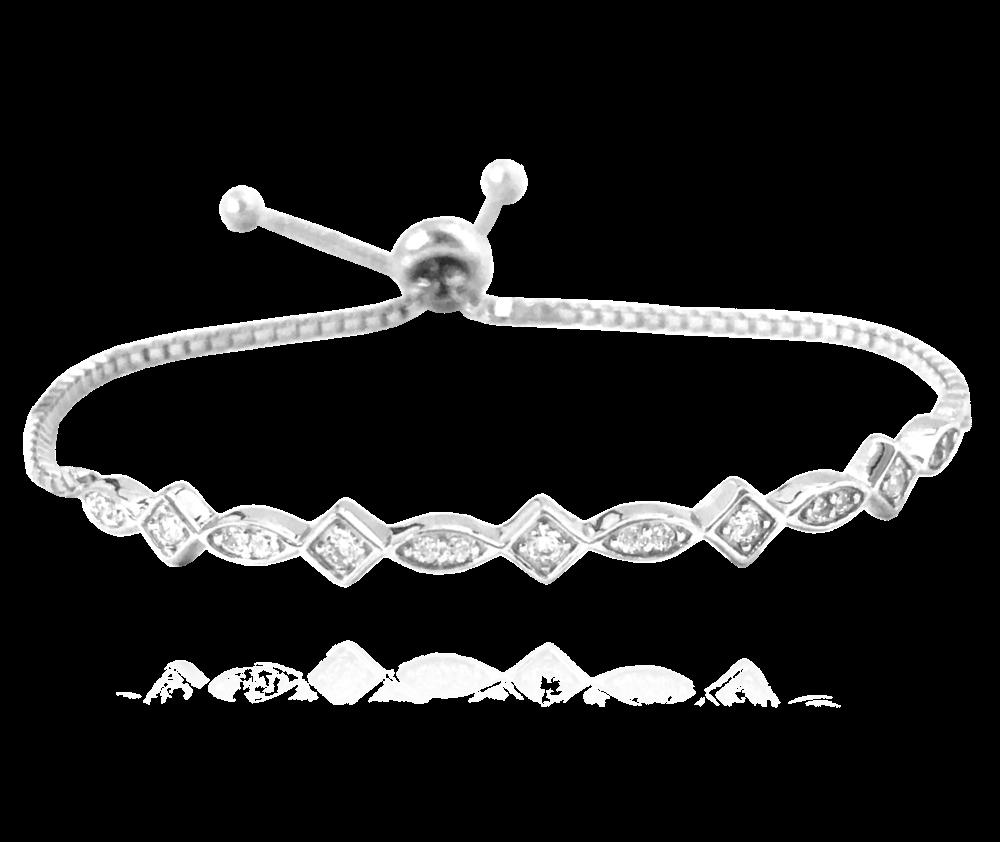 MINET Půvabný stříbrný náramek MINET se zirkony a stahovacím zapínáním JMAS0024SB18