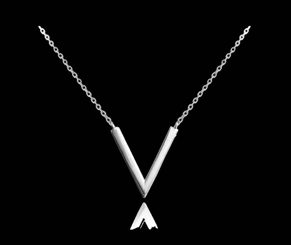 """MINET Stylový stříbrný náhrdelník MINET """"V"""" JMAN0091SN42"""