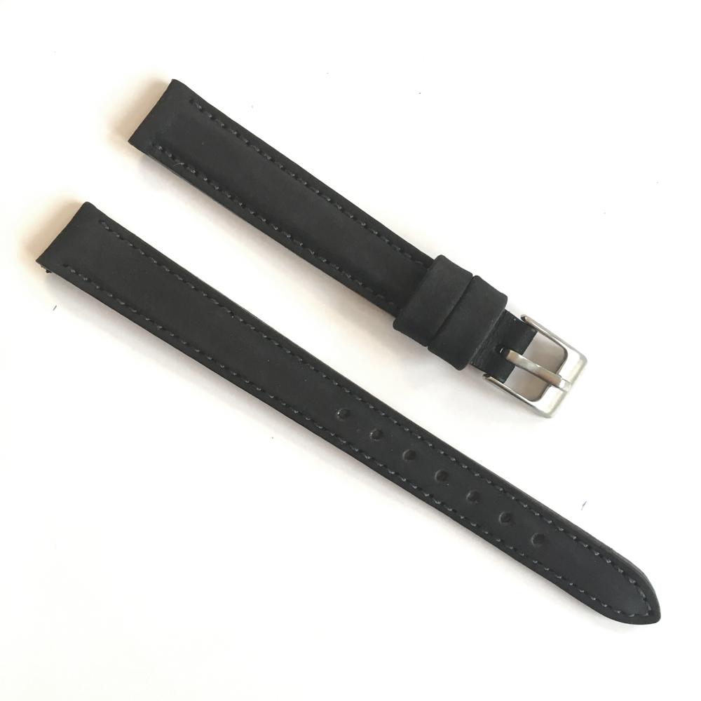 Černý prošitý kožený řemínek MINET z jemného nubuku - 12