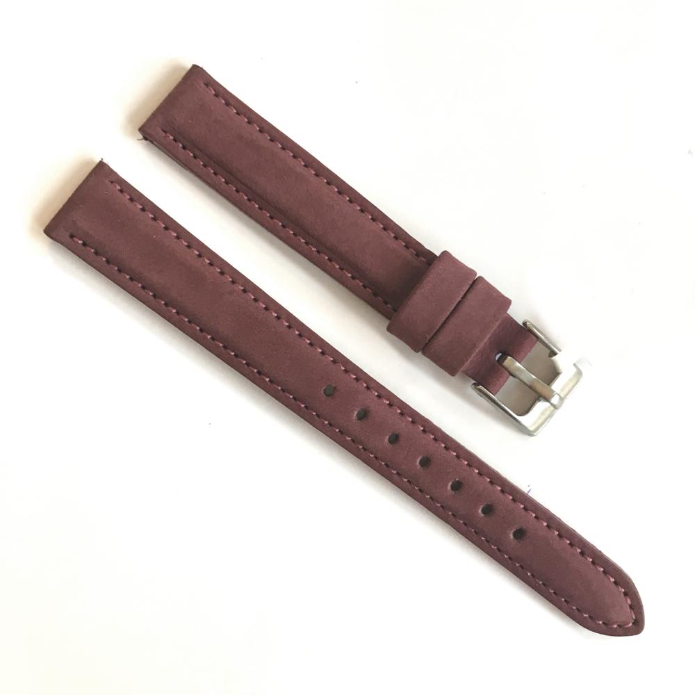 Vínový prošitý kožený řemínek MINET z jemného nubuku - 14