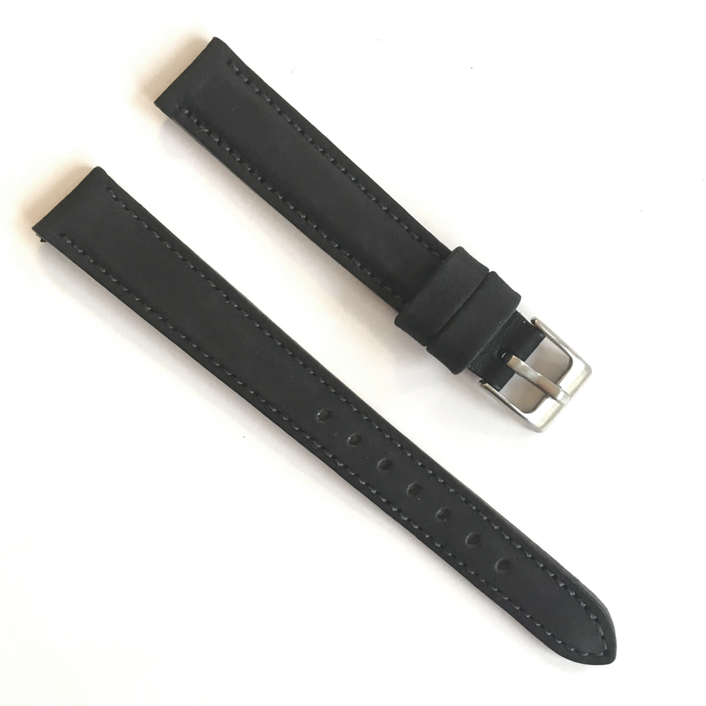 Černý prošitý kožený řemínek MINET z jemného nubuku - 14