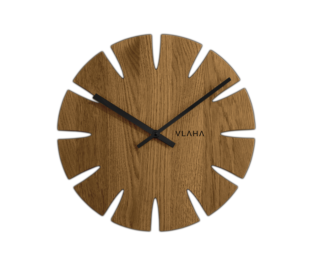 VLAHA Dubové hodiny VLAHA vyrobené v Čechách s černými ručkami VCT1015