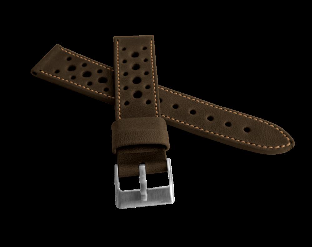 Perforovaný tmavě hnědý prošitý řemínek LAVVU VINTAGE z luxusní kůže Top Grain - 18