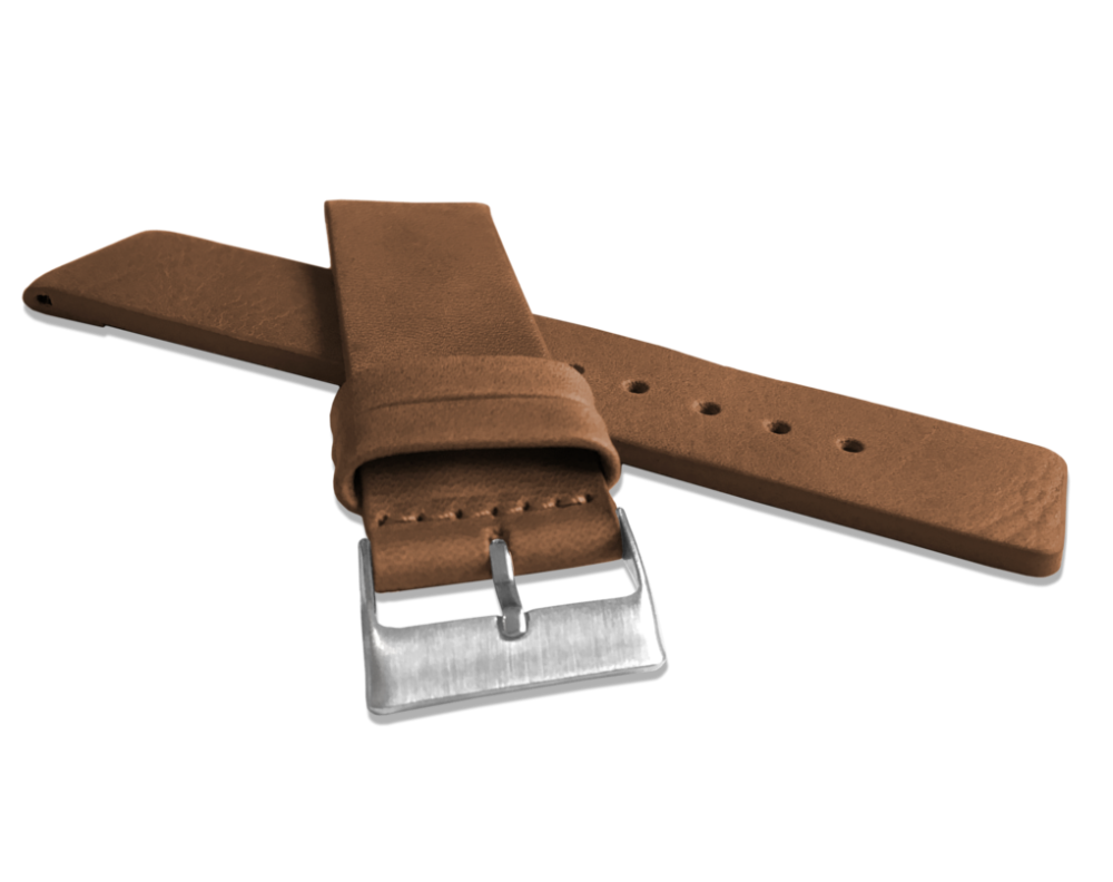 Hnědý hladký řemínek LAVVU PLAIN z luxusní kůže Top Grain - 22