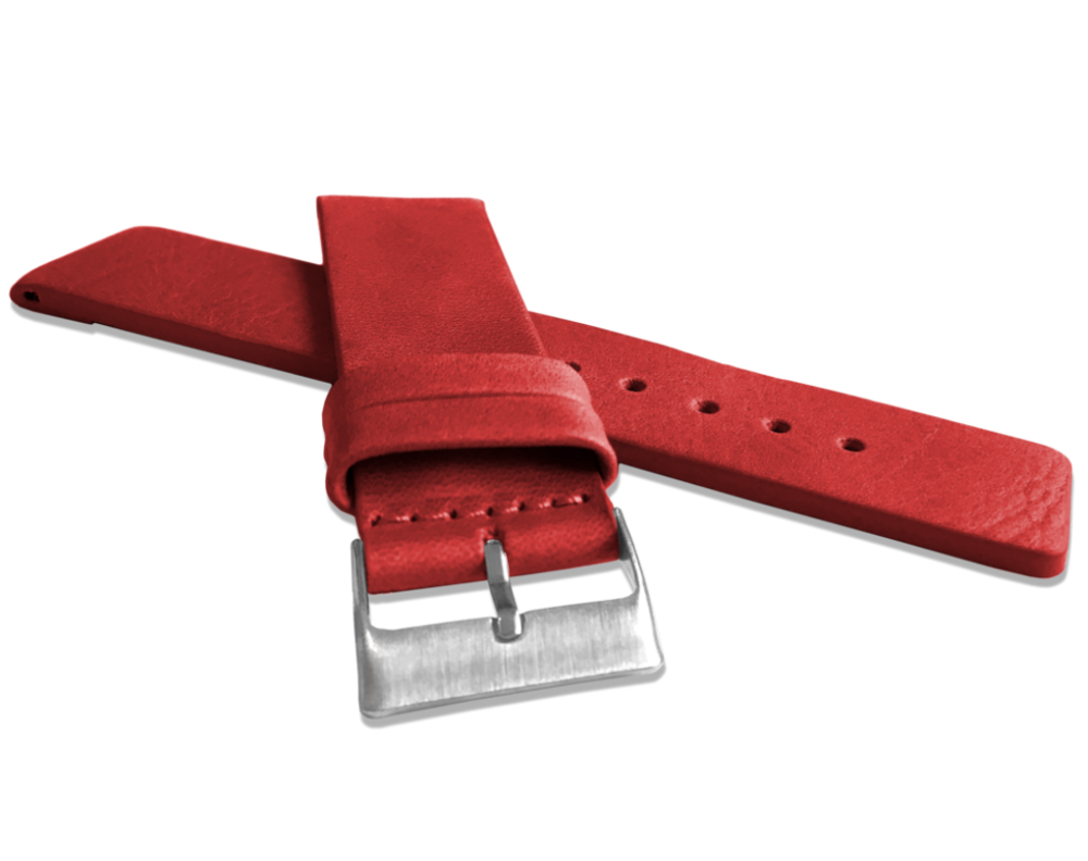 Červený hladký řemínek LAVVU PLAIN z luxusní kůže Top Grain - 24