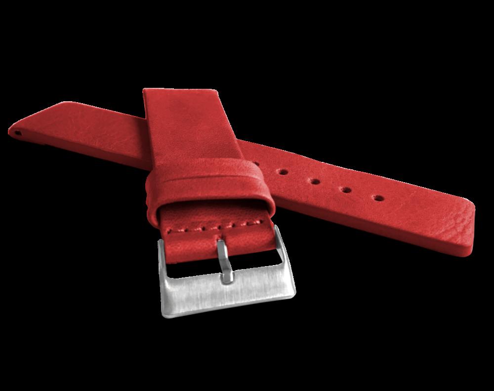 LAVVU Červený hladký řemínek LAVVU PLAIN z luxusní kůže Top Grain - 22 LSCUR22