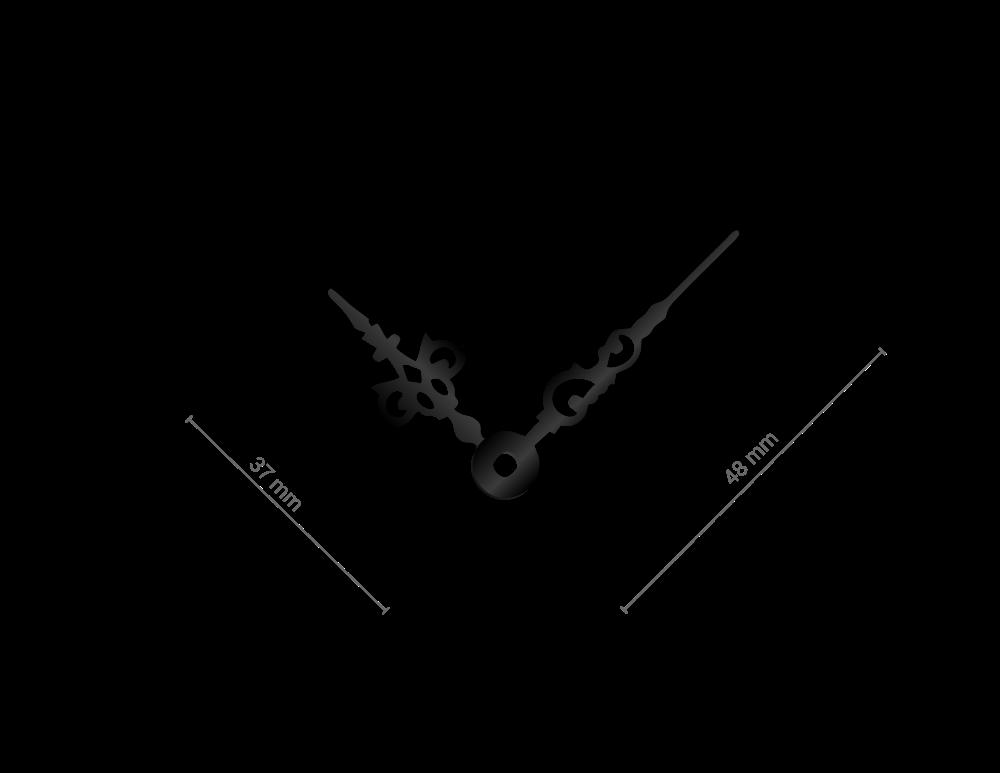 Střední černé hliníkové ručičky na hodiny Antik 43 mm | 32 mm