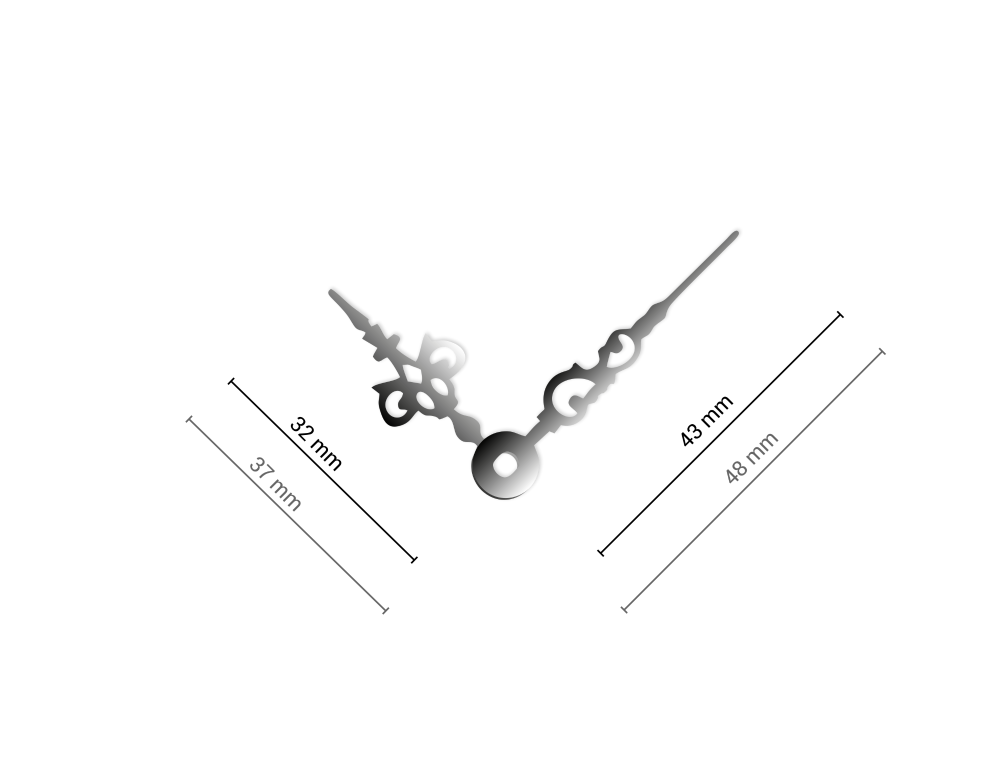Střední stříbrné hliníkové ručičky na hodiny Antik 43 mm   32 mm
