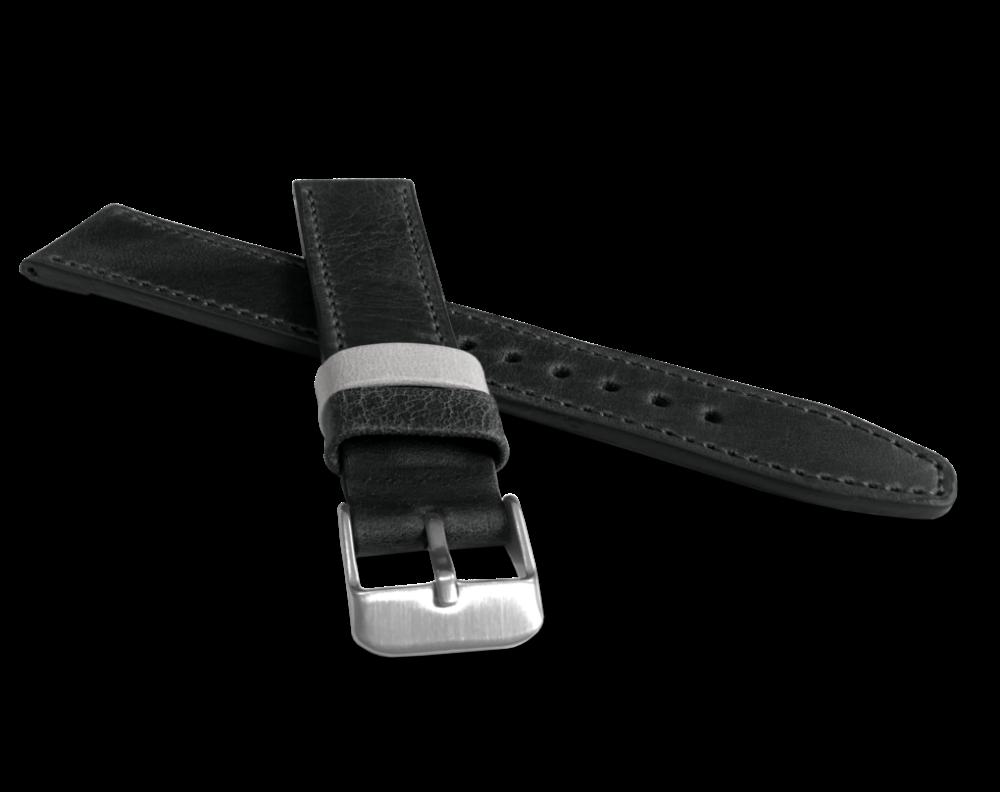 Černý prošitý řemínek LAVVU TAILOR z luxusní kůže Top Grain - 18