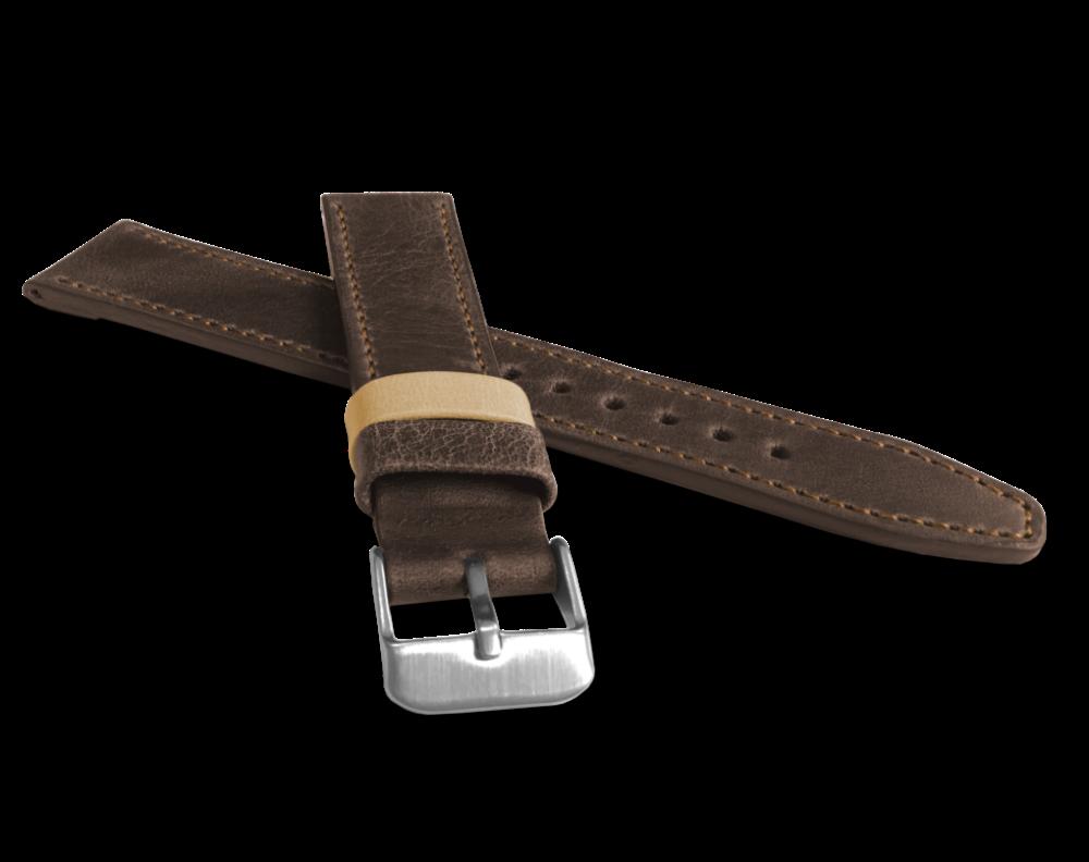 Tmavě hnědý prošitý řemínek LAVVU TAILOR z luxusní kůže Top Grain - 18