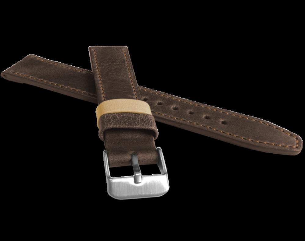 Tmavě hnědý prošitý řemínek LAVVU TAILOR z luxusní kůže Top Grain - 20