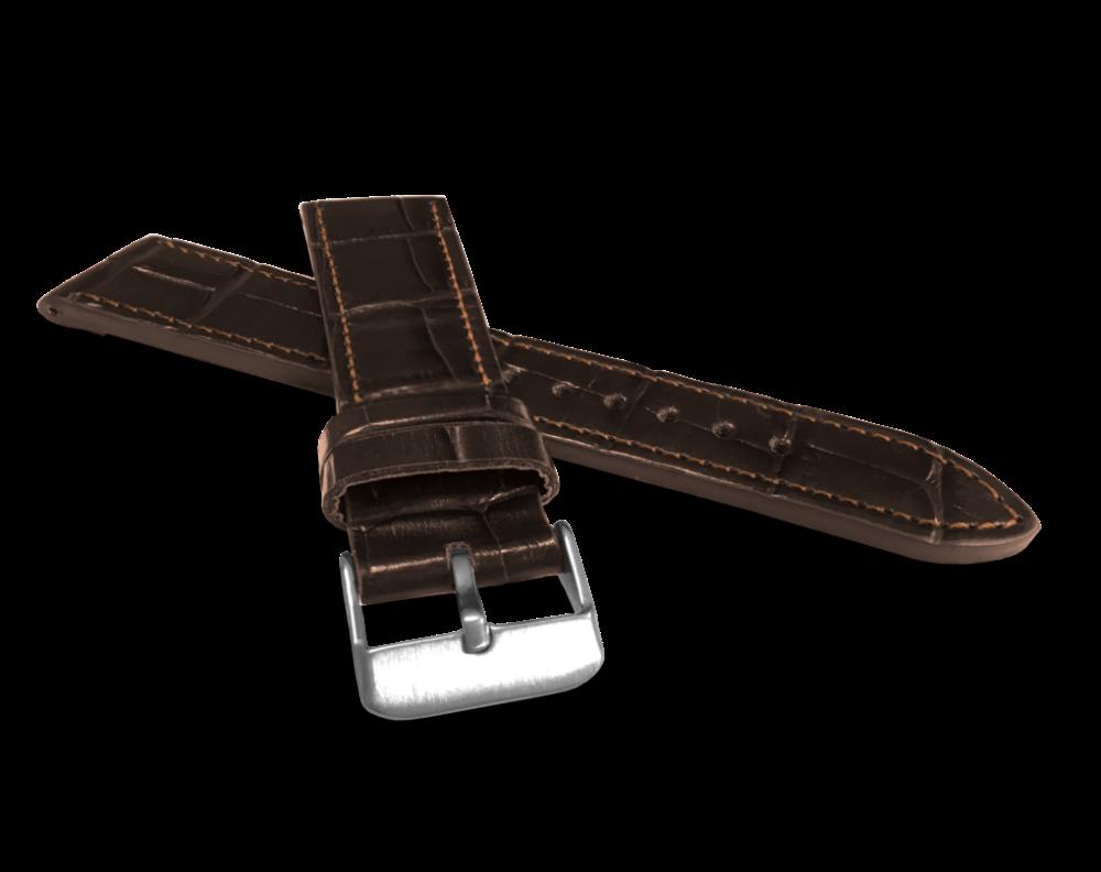 LAVVU Tmavě hnědý prošitý řemínek LAVVU CROCO z luxusní kuže Top Grain - 18 LSJUC18