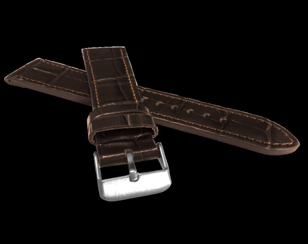 LAVVU Tmavě hnědý prošitý řemínek LAVVU CROCO z luxusní kuže Top Grain - 20 LSJUC20