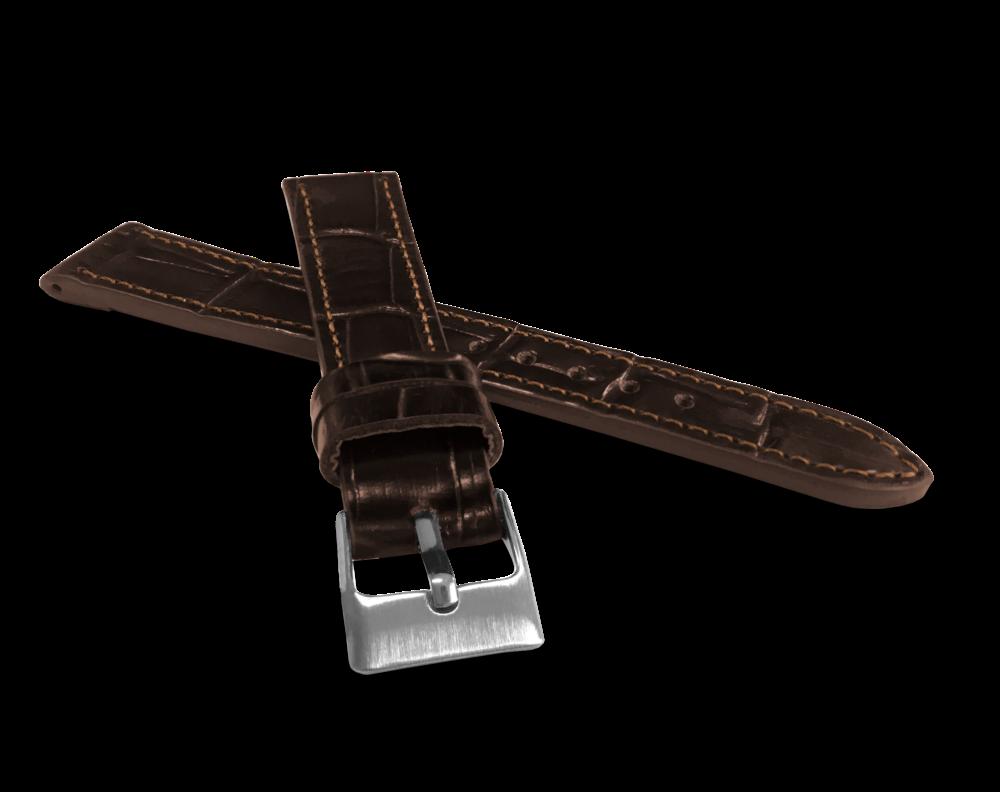 Tmavě hnědý prošitý řemínek LAVVU CROCO z luxusní kuže Top Grain - 16