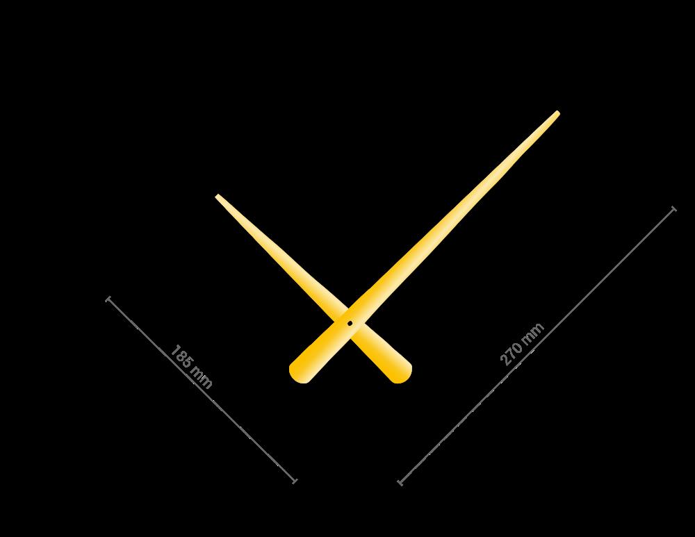 Zlaté zúžené hliníkové ručičky na hodiny 215 mm   130 mm