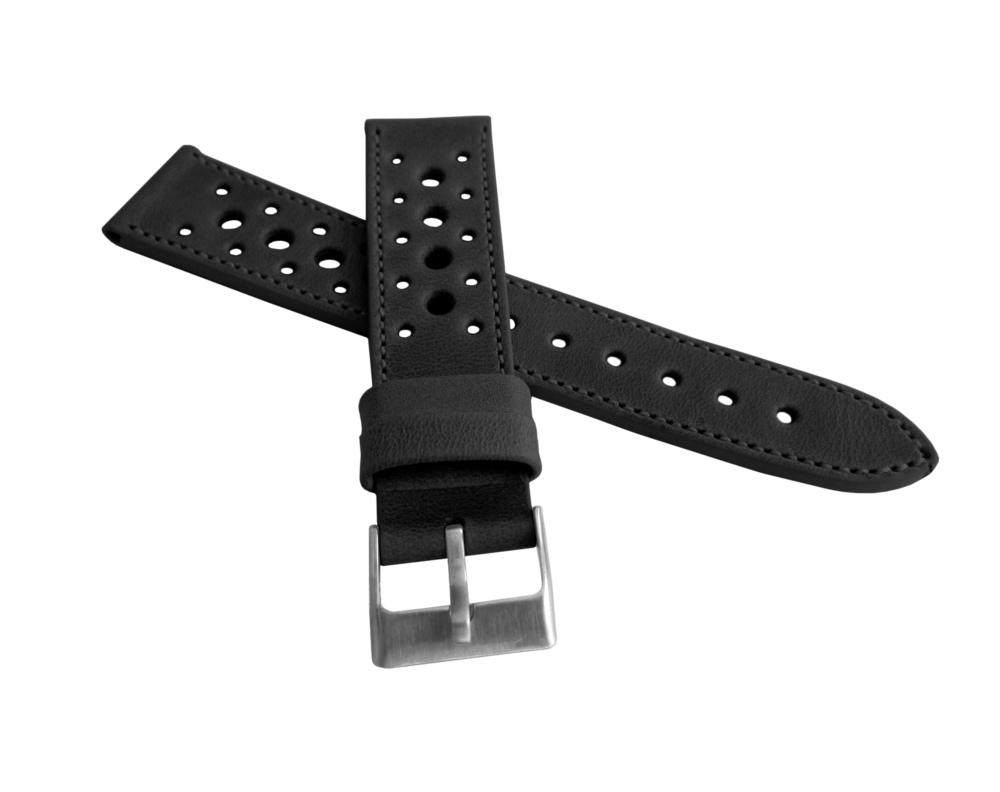 LAVVU Perforovaný černý prošitý řemínek LAVVU VINTAGE z luxusní kůže Top Grain - 22 LSGUB22