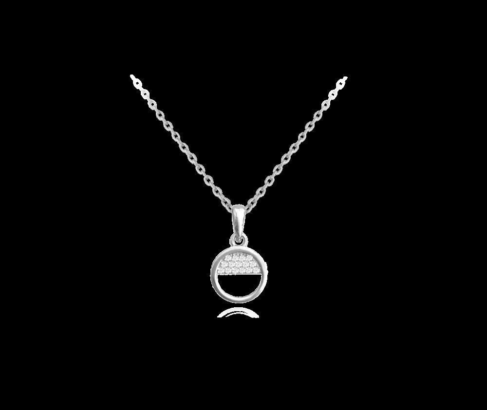 Půlkruhový stříbrný náhrdelník MINET s bílými zirkony